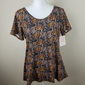 LuLaRoe Classic T Brown Gold Abstract Floral M